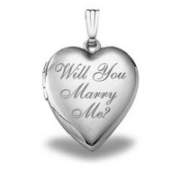 Sterling Silver   Will You Marry Me   Sweetheart Locket