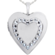 Sterling Silver Heart Locket W  Swarovski Crystals