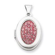 Sterling Silver Pave Crystal Locket