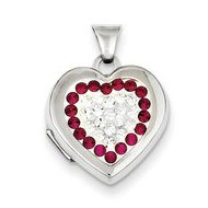 Sterling Silver Swarovski Crystal Heart Locket