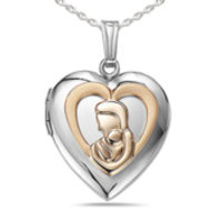 Sterling Silver   14K Gold Mother and Child Locket