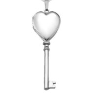 "Sterling Silver ""Sweetheart KEY"" Locket"