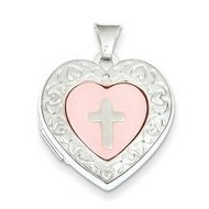 Sterling Silver Mother of Pearl Heart God Bless You Locket