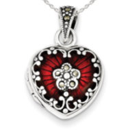 Sterling Silver Red Enamel   Marcasite Heart Locket
