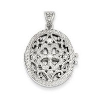Premium Heavy Weight Sterling Silver Oval Locket W  Cubic Zirconia