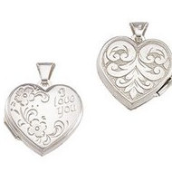 Sterling Silver Heart  I Love You  Picture Locket