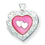 Sterling Silver Mother of Pearl Heart Locket