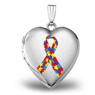 Sterling Silver  Autism Awareness  Heart Locket