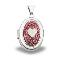 Sterling Silver Swarovski Crystal Oval Locket
