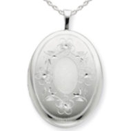 Sterling Silver Oval Locket w  Flower Border