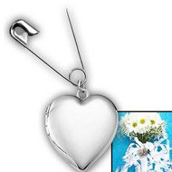 Sterling Silver  Wedding Bouquet  Heart Locket With Safety Pin