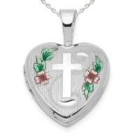 "Sterling Silver ""Cross with Enamel Flowers "" Heart Locket"