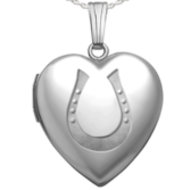 Sterling Silver  Horseshoe  Heart Locket