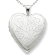 Sterling Silver Swirl Design Heart Locket