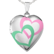 Sterling Silver  Interlocking Color Hearts  Locket