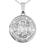 Sterling Silver  St  Francis   Animal Protector  Round  Picture Locket