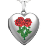 Sterling Silver  Double Rose  Sweetheart  Heart Locket