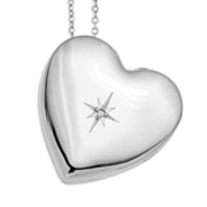 Sterling Silver Side Dangle Heart Locket with Cubic Zirconia