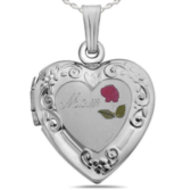 Sterling Silver Heart  MOM  Picture Locket