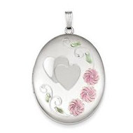 Sterling Silver Heart W  Enamel Flowers Oval Locket