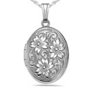 Sterling Silver Oval   Floral  Picture Locket