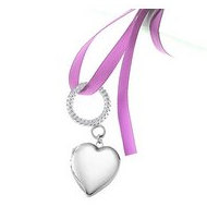 "Sterling Silver ""Wedding Bouquet"" Heart Locket With Ribbon Loop"