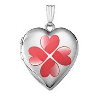 Sterling Silver  Four Heart Clover  Locket