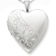 Sterling Silver Heart Locket With Floral Border