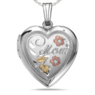 Sterling Silver  Mom  Heart Locket