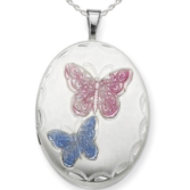 Sterling Silver Enameled Butterfly Oval Locket