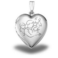 Sterling Silver  Mom with Three Sons  Heart Locket