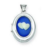 Sterling Silver Cameo I Love You Locket