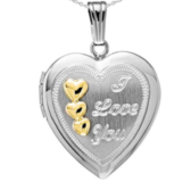 Sterling Silver Heart Locket w/ I Love You