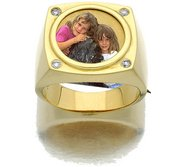 14k Yellow Gold   Diamond Photo Engraved Mens Ring