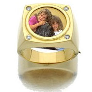 14k Yellow Gold & Diamond Photo Engraved Mens Ring