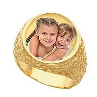 Mens  Embossed  Photo Ring
