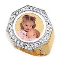 14K Gold   Diamond Men s Photo Lasered Ring