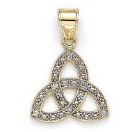 14K Yellow Gold Four Leaf Clover Diamond Pendant