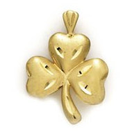 14K Yellow Gold Four Leaf Clover Charm