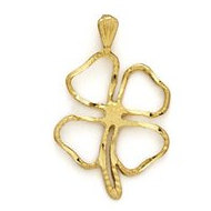 14K Yellow Gold 4 Leaf Clover Pendant