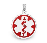 14K White Gold  Floral Curved  Medical Charm W  Red Enamel