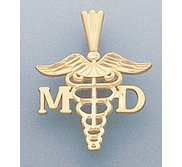14k Filled Gold M D  PENDANT