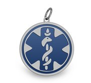 STAINLESS STEEL BLUE ENAMELED MEDICAL EMBLEM PENDANT