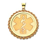 14K Gold Rope Round Medical Pendant
