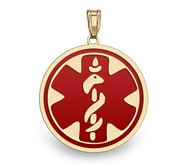 14K Gold Round Medical Pendant W  RED ENAMEL