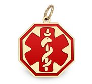 14K Gold Octagon Medical Charm W  Red Enamel