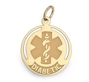 14K Filled Gold Round Medical  Diabetic  Charm