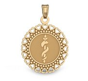 14K Gold Round Medical Pendant