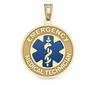 14K Gold Round  Emergency Medical Technician  Pendant W  Blue