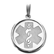 Sterling Silver Round W  Bezel Medical ID Charm or Pendant